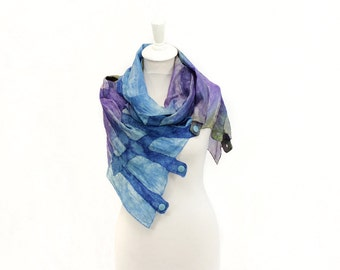 silk scarf, felt scarf, hand painted, dyed, wool scarf, merino, winter scarf, kate ramsey, fabulousfelt, blue, violet
