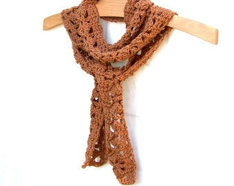 Boho Scarf - Crochet Skinny Scarf - Cotton Scarf - Neck Wrap - Amber Color