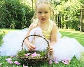 Barefoot Flower Girl Baskets, Wild Honeysuckle Twig Basket, Moss Lined Basket, RH
