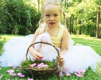 Barefoot Flower Girl Baskets, Wild Honeysuckle Twig Basket, Moss Lined Basket, Rounded, RH