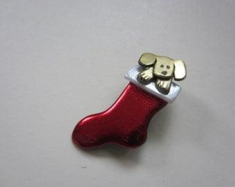Christmas stocking dog pin