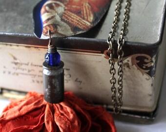 Pumpkin Harvest Sari Silk Tassel Necklace, Multicolored Sari Silk, Lampwork Bead, Hand OX Art Shell, Pendant Necklace, Art Jewelry, Cheldena