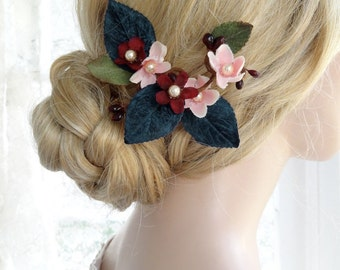 navy hair clip, navy and blush wedding, marsala burgundy hair flower, navy hair comb, fall wedding, navy hair flower, bridal hair piece