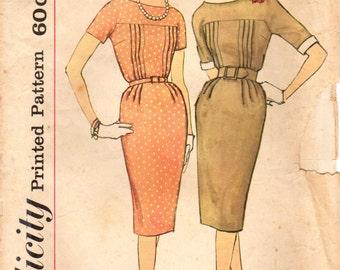 1950s Simplicity 3261 Vintage Sewing Pattern Misses Slim Dress, Sheath Size 14 Bust 34