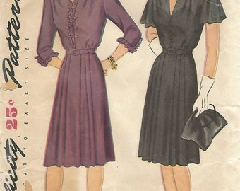 1940s Simplicity 1036 Vintage Sewing Pattern Women's Afternoon Dress Size Bust 42