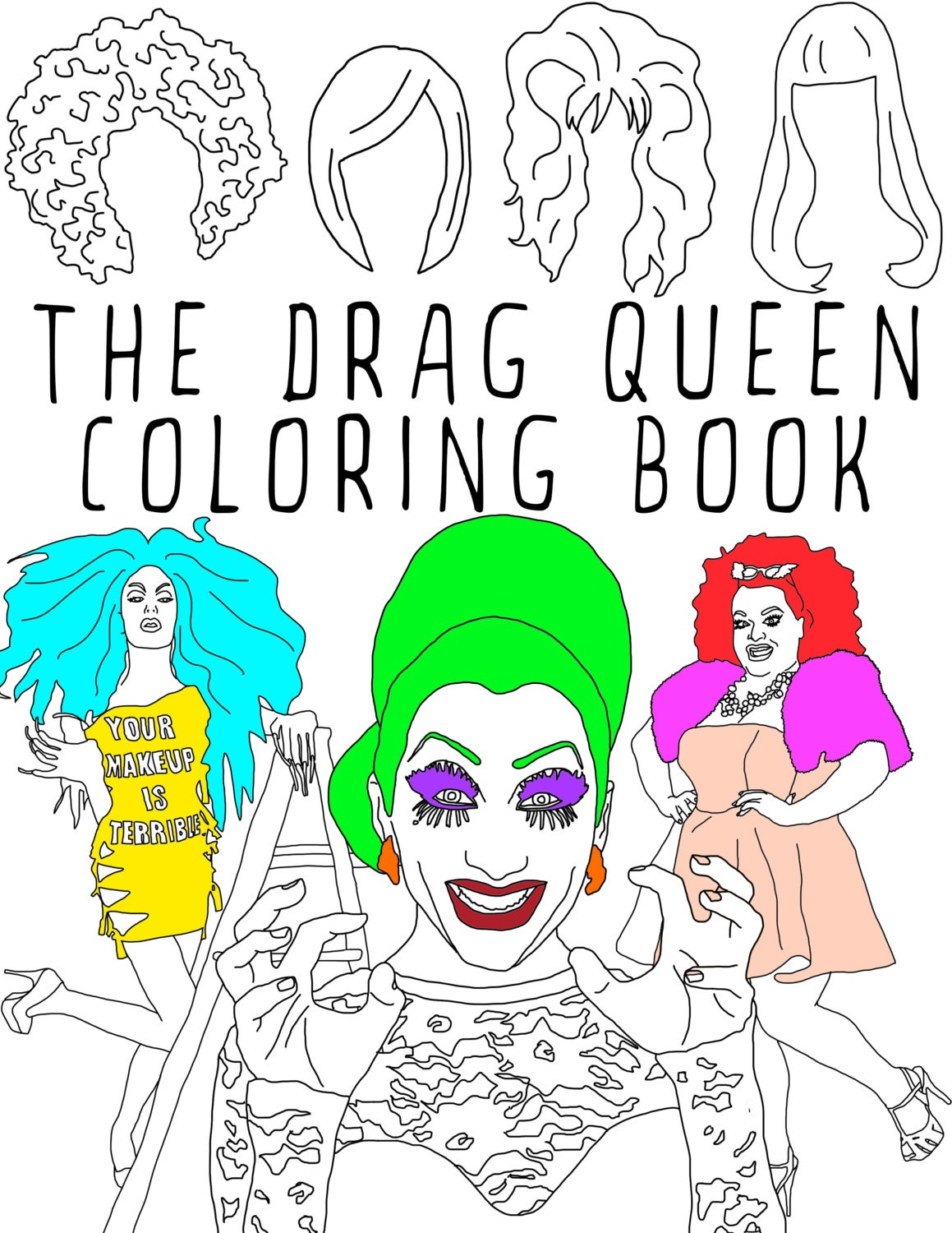 the drag queen coloring book adult coloring book printable coloring pages instant download - Printable Coloring Book