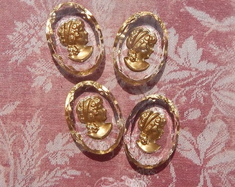 Vintage Glass Intaglio Cameos - 25x18 mm Crystal and Gold Reverse Painted Lady Cabochons (choose 2 pc or 4 pc)
