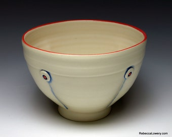 White Button Ceramic Soup Bowl, Cereal Bowl