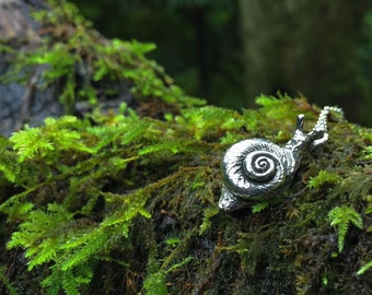 Large Forest Snail Necklace | Cute Snail Pendant | Pewter Silver Snail Charm Necklace