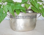 silver bucket with hammered band and handles - oval champagne ice bucket or planter - distressed patina - shabby cottage chic