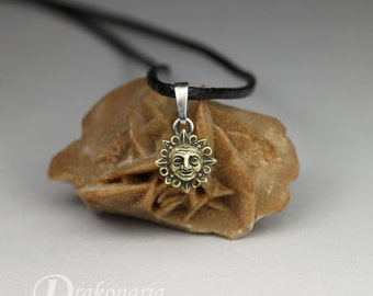 Ancient Songs - Sun - Micro pendant - super tiny sculpted Sun made of silver and brass, limited collection