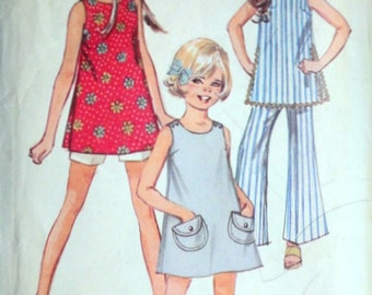 Girls' Pants in Two Lengths, Dress or Top, Vintage 60's Simplicity 8275 Sewing Pattern, Retro Mod, 1960's Fashion, Size 8, 27 Breast