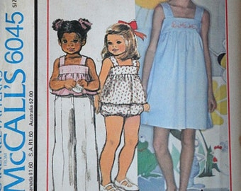 Children's Dress Or Jumper Or Top And Panties With Embroidery Transfer, McCall's 6045 Vintage 70's Pattern, Uncut FF