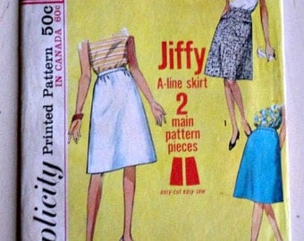 Vintage 60's Simplicity 5937 Sewing Pattern, Jiffy A Line Skirt: Simple-to-Sew, 26 Waist, Retro