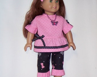 Capri Pants and top outfit - to fit American Girl or other 18 inch dolls
