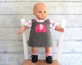 15 inch Doll Outfit, Pink Elephant Jumper, Elephants T Shirt, Gray Denim Jumper, Pink Doll Socks