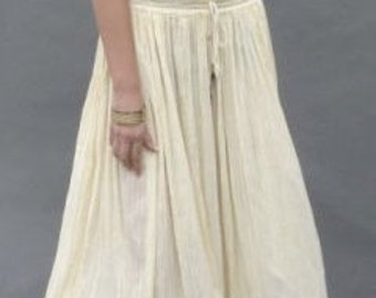 Vintage 80s Cream Gauze Indian Cotton Maxi Long Hippie Skirt S/M