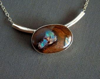 Australian boulder opal necklace / blue boulder opal / boulder opal from Australia / October birthstone / opal jewelry / sterling and opal