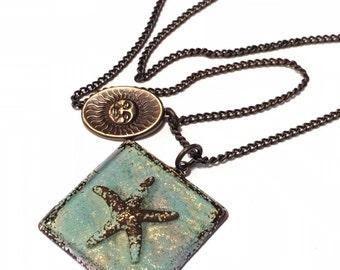 Sea foam Green Starfish necklace, Beach lover necklace, brass sun charm