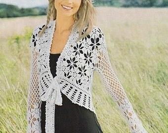 Crochet Pattern. Lace crochet jacket Judi Instant Download Level - Intermediate