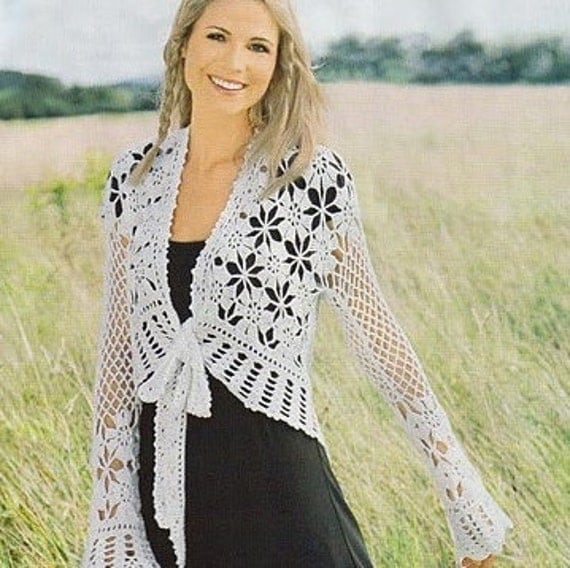 Crochet Pattern. Lace crochet jacket Judi Instant Download Level - Intermediate