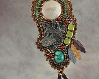 Necklace, bead embroidery, wolf, beaded, mother of pearl, pewter wolf, beaded necklace