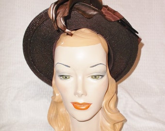 40s 50s Vintage Brown Wide Brim Hat with Feathers M. O'Neil Co New York Creation 22