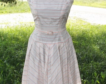 1950s Vintage Peach and Blue Striped Taffeta Dress XS. 32 inch Bust, 24 inch Waist