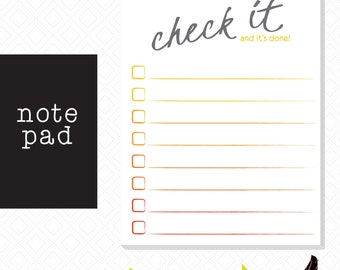 Note pad, Check List Note Pad