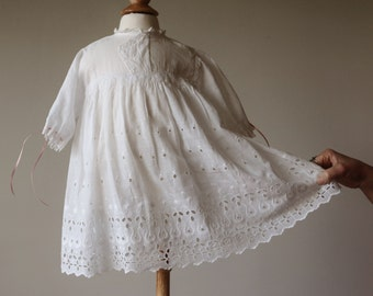 1940s Eyelet Batiste Dress~Size 6 Months