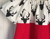 SALE  Woodland Dress Deer Short Sleeve Dress Red White and black dress by The Trendy Tot