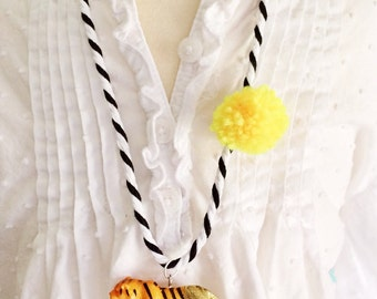 Tiger Necklace Pom Pom Necklace Animal Necklace Pompom Jewelry Girls Animal Necklace Kids Jewelry Jewelry for Tweens