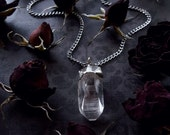 Quartz Crystal Necklace - Clear Quartz Pendant with Silver Chain - Eight Sided Face Grounding Crystal - Arkansas Quartz - Silver Light