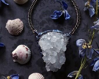 Quartz Necklace - Quartz Pendant - Large Clear Quartz Crystal Cluster Pendant - Mermaid Quartz Necklace - Clear Quartz Pendant - Delphine