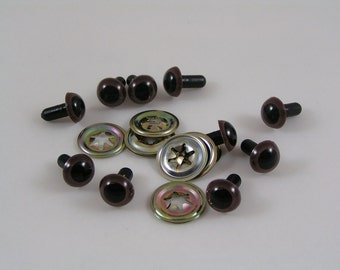 Toy Safety eyes 12mm Brown animal eyes with washers available in packs of 10, 50 or 100 eyes and washers