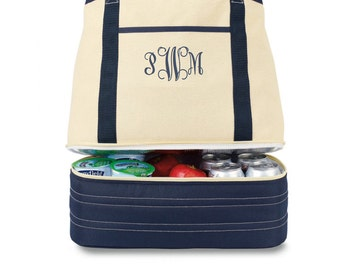 New COASTAL Cotton Boat Tote Bag with hidden COOLER!  Navy / Natural - large
