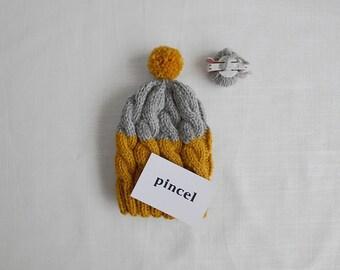 Baby Beanie, Newborn gift, Grey and Yellow, Wool beanie