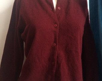 Vintage Laura Ashley Sweater Womens Burgandy Beaded Lambswool Cardigan Sweater with Beading Size M Medium