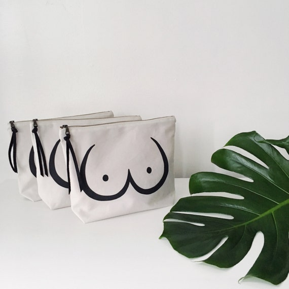 Lady Parts Zipper Pouch // Feminist Makeup Bag // Boobs Pouch // Cosmetic and Toiletry Bag // Cotton and Linen