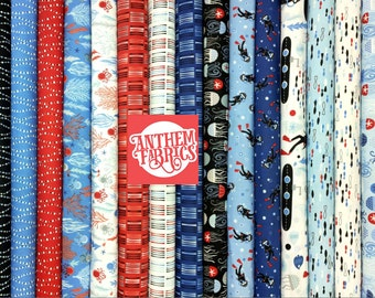 Come Dive with Me by Whistler Studios for Windham - cotton quilting fabric, 15-pc fat quarter bundle