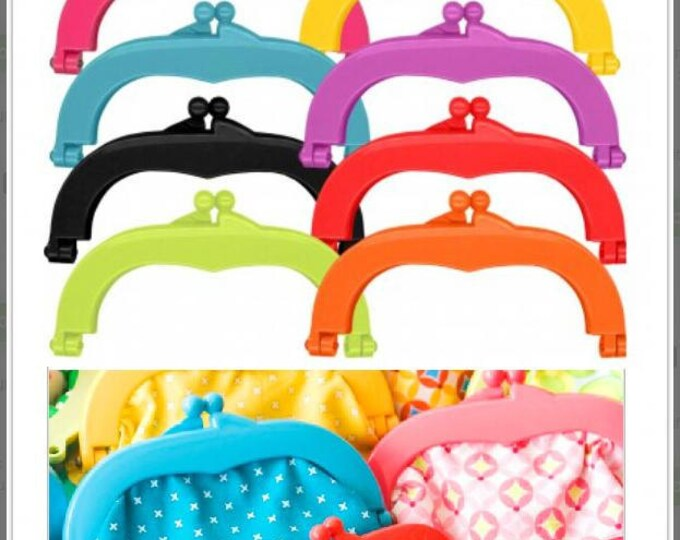"Lecien Jelly clip MEDIUM 5.5"" - 8 colors, resin acrylic kiss lock for purse, 1 clip per package - choose a color"