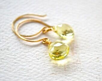 Limoncello Earrings - lemon quartz earrings, yellow stone earring, lemon yellow gold simple drops, bridesmaid jewelry DE05