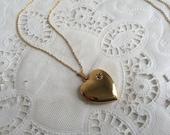Vintage 1970s Avon President's Club Heart Locket Necklace Gold tone Diamond Chip