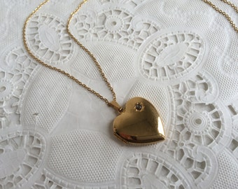Vintage 1970s Avon President's Club Heart Locket Necklace Gold tone Diamond Chip