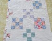 "Nine Patch Cutter Quilt Piece Feedsack Hand Stitched Craft Supplies 32"" x 22"""