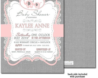 Girl Elephant Baby Shower Invitation, Girl Baby Shower Invitation, Pink + Gray Baby Shower Invitation, Pink and Grey Burlap Vintage Lace