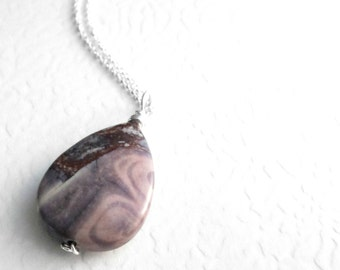 Natural Stone Necklace, Porcelain Jasper Pendant on Sterling Silver Chain