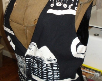 Retro Vintage 1980's, 1990's Men's Medium Black & White Mod Graphic Tuxedo Vest
