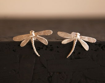 Dragonfly earrings-Insect earrings-Sterling silver studs- Dragonfly jewelry- Animal earrings-Anniversary gift