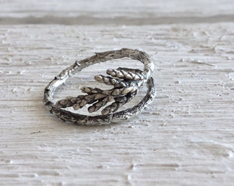 Sterling silver juniper twig ring-Woodland ring-Juniper leaf jewelry-Double twig ring-Nature adjustable ring-Gift for her under 50